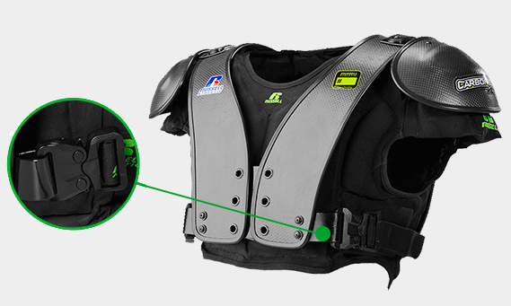 Close up image of the Military grade buckle system on the CarbonTek™ Shoulder Pads